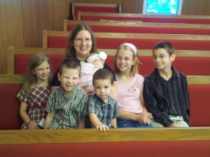 Kids and Mom at Church