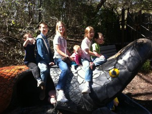 There was a little playground area where the kids posed for me on top of a snake tunnel.