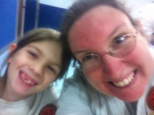 A picture of Hannah and myself trying to both fit in a picture on my phone after karate class.
