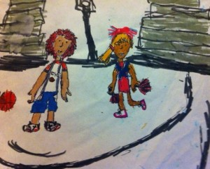 A basketball drawing by Hannah.