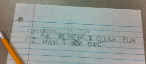 Haiku about basketball written by Hannah.