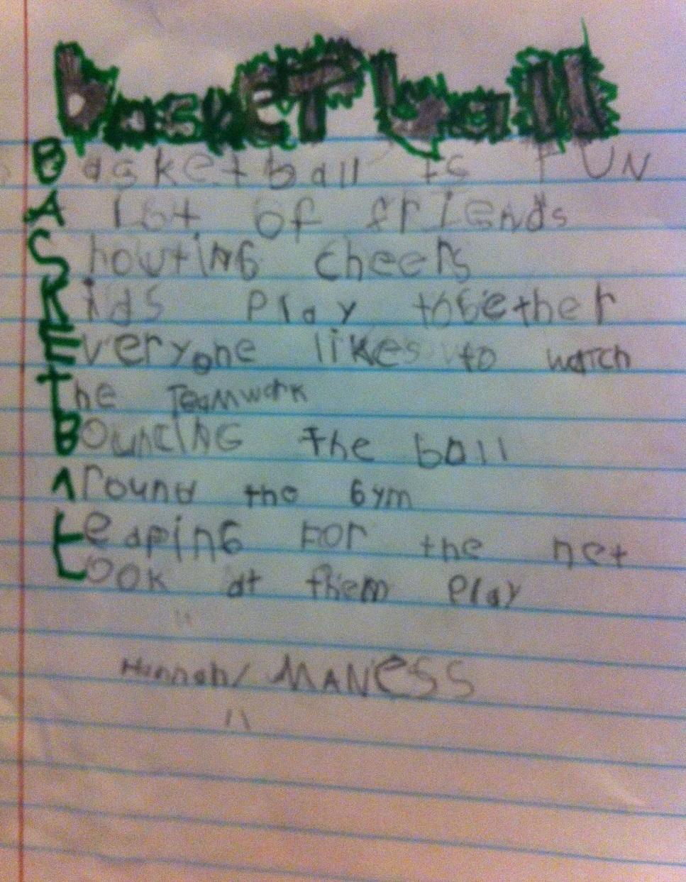 Basketball Acrostic by Hannah