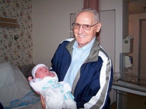 The latest picture I have of my Papaw holding his great grandson Jonathan born November 4, 2007.